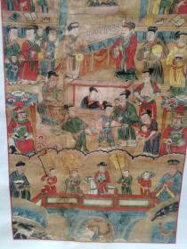 清代廟畫  西王母  尺寸118x52 清代手繪