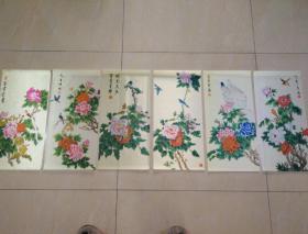 挂历绢画内芯6幅全,牡丹花鸟。