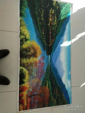 布面山水油画一张,