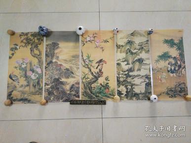 挂历内芯5幅,其中有郎世宁、沈虞兰、蒋懋德等,古色古香。