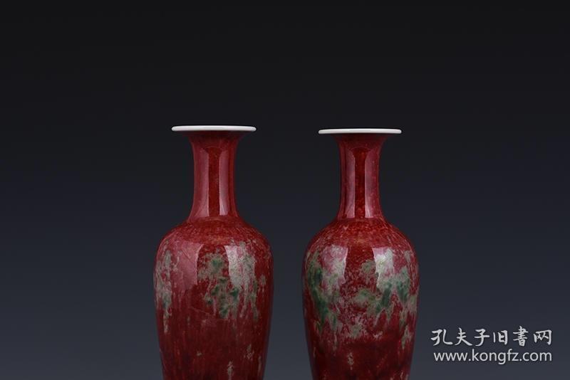 清康熙豇豆红美人醉釉带坐柳叶瓶图片