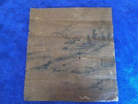 """日本""""画圣""""之称的日本水墨画的开山鼻祖【雪舟等杨】的小幅山水画一幅,五百多年的画作自然老旧"""