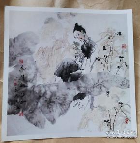 画家岳海波(花开寂寞红)画照片尺寸20公分×20公分