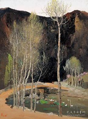 吴冠中    山间春色     1:1复制综合版画   限量2008幅    原作收藏;上海美术馆