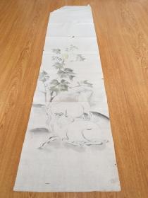 民国日本手绘《花下山羊图》一幅,年代作者不详