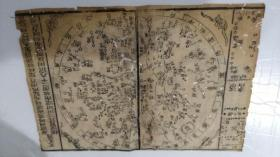 清代,天文图地舆图 ,两幅,28*18