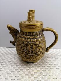 黄铜 竹子茶壶 节节高升