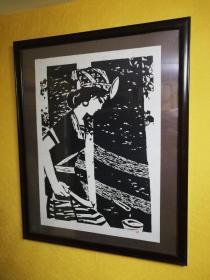 彦涵1983年木刻版画原作《胶》