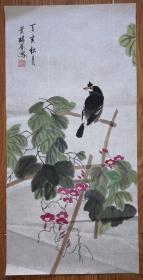 手绘真迹国画:满族画家钮贵麟花鸟画《八哥》