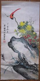 手绘真迹国画:满族画家钮贵麟石竹菊花鸟画