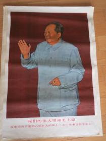 文革宣傳畫()我們的偉大領袖毛主席在中國共產黨第八屆擴大的第十二次中央委員會全會上 1969年 大一開