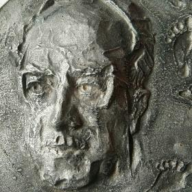 国外手工雕模铸造 金属人物纪念章牌 尺寸大 珍罕
