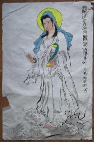 手绘真迹国画:王之英《观世音菩萨》