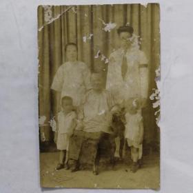 民国家庭合影明信片照片