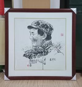 中国经典年画宣传画电影海报大展示------90年代年画系列------《毛主席画像》------对开----虒人荣誉珍藏