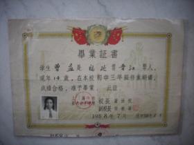 1958年【上海市第六女子中学】毕业证书!39/27厘米