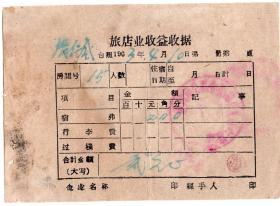 50年代发票单据-----1963年黑龙江省通河县公私合营第六旅馆收据-4