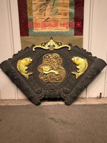 楠木大漆浮雕鎏金鲤鱼跳龙门福字挂匾,雕刻精美,包浆自然浓厚,家居装饰具佳