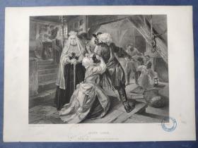 1864年 钢版画 手工雕刻 版画 《ALICE LISIE》