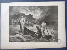 1864年 木版画  版画 《ARRIVING AT THE DOLOROUS CITY 》