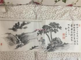 江户后期画师柳斋作彩色水墨画题画诗一幅:一旅人驻杖行走山间松下,边题汉诗一首,钤印多枚
