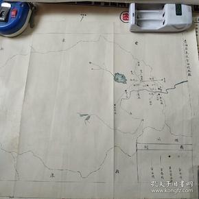 民国老地图  青海省长途电话线路图  尺寸32/29  民国三十三年