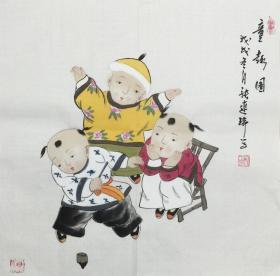 【保真】【张连瑞】中美协会员、希望出版社副总编、美术编审、手绘三尺斗方人物作品(50*50CM)(童趣图)。