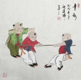 【保真】【张连瑞】中美协会员、希望出版社副总编、美术编审、手绘三尺斗方人物作品(50*50CM)(童趣)。