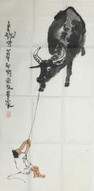 ★●【顺丰包邮】【纯手绘】【李可染】中国美术家协会副主席、中国画研究院院长、三尺纯手绘人物画(100*50cm)1买家自鉴.