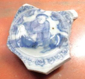 古董瓷标本 大明年造款 桥边持扇子人物 青花瓷片 明朝代嘉靖老陶瓷器 包老真品 瓷具收藏