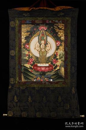 顶级画师纯手工天然矿物颜料手绘千手观音唐卡一张