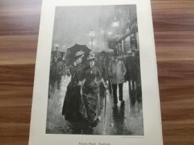 【现货 包邮】1890年木刻版画《被跟踪》Verfolgt 尺寸约41*28厘米 (货号602086)