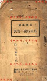 东省事变日军行动一览表(一)-作者不详-民国铅印本(复印本)