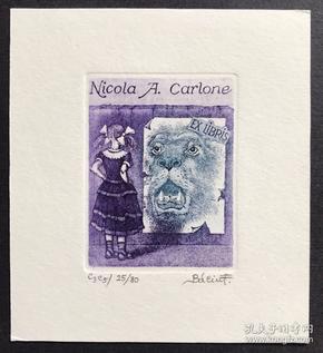 匈牙利蚀刻版画藏书票原作 女孩和狮子