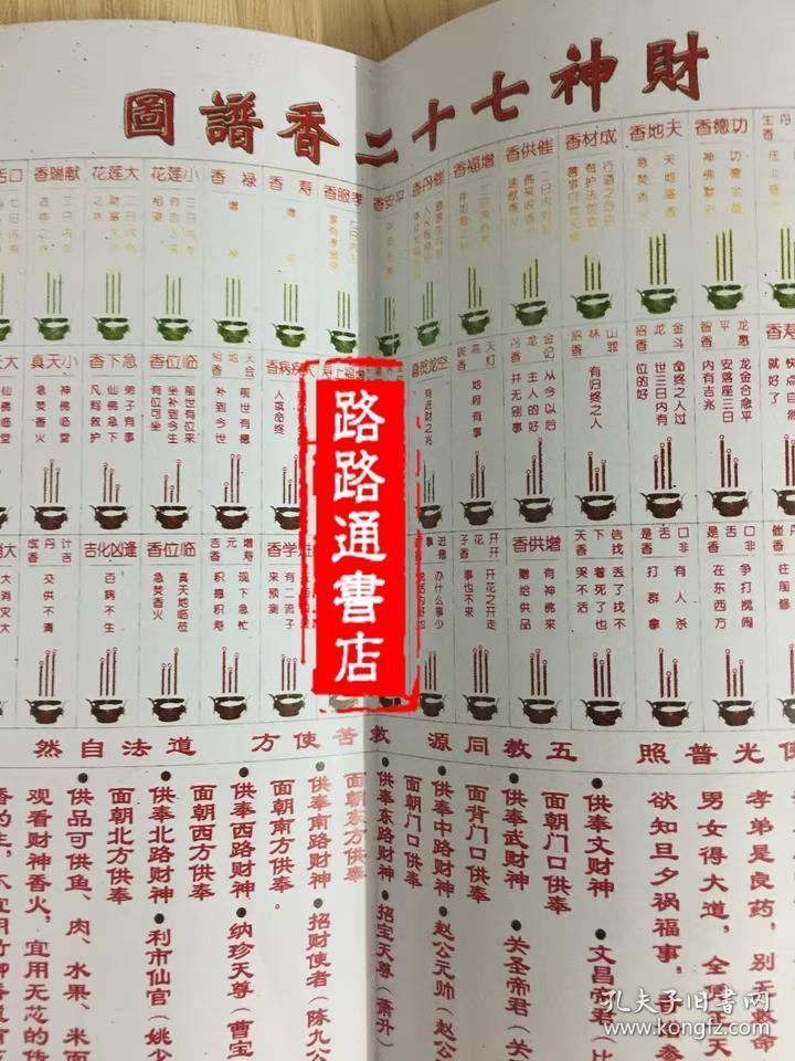 香谱图解父母礼物实用看香火斋醮科仪佛教道教用品出马仙书籍经书