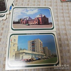 俄罗斯建筑明信片,全俄文,15张全新无封,背面也是黑白景色