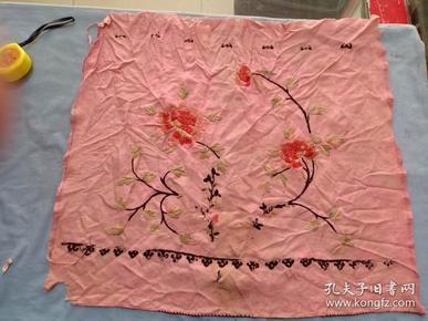 (箱11)清代 小姐用 双面绣 花卉手帕一条,尺寸47*43cm