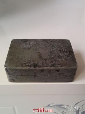 民国全品蚀刻松鹤纹李湛章款厚重铜墨盒