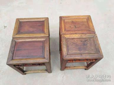 苏工排凳两对,包浆浓厚,皮克一流,完整包老