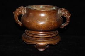 旧藏 老紫铜两体宣德香薰炉 象耳敞口 带底座圆形,香炉,熏炉,宣德炉,包浆醇厚老道,做工精良,古意盎然