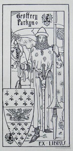 """""""新艺术名作""""英国艺术家""""Harold E.H.Nelson""""线刻藏书票—《骑士》1900"""