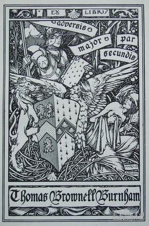 """""""新艺术名作""""英国艺术家""""Harold E.H.Nelson""""线刻藏书票—《胜利的武士》"""