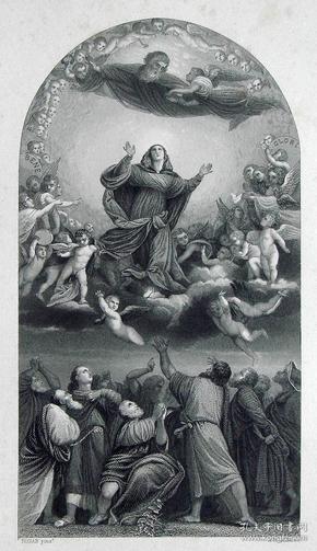 """""""提香 Titian""""名画1880年""""意大利艺术瑰宝""""系列钢板画—《圣母升天》意大利文艺复兴时期画家""""维切里奥·提香(Vecellio Titian 1490-1576)""""作品  30x23cm"""