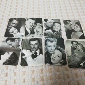 1993年外国男女影星年历片,一套8张全,编号880582-170-1,我岁数小,9几年,小时候家里没电视九十年代外国影星真叫不出名字,拍者自己辨认。