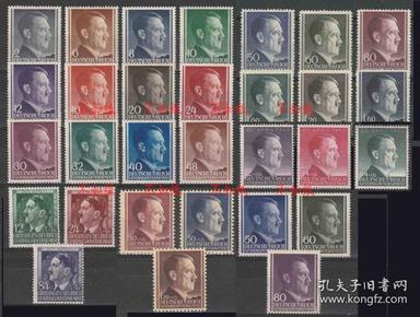 德国邮票 1941-1944年 德占波兰 全部发行希特勒像 共计6套 30枚全新