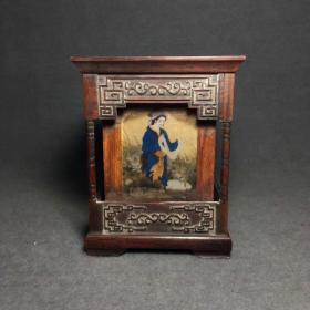 民国老木雕红酸枝木镶嵌瓷板四大美女笔筒一个,高14.5厘米,包浆好,无磕碰;