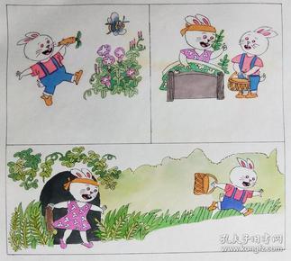 小兔子与大灰狼连环画原稿(5张)