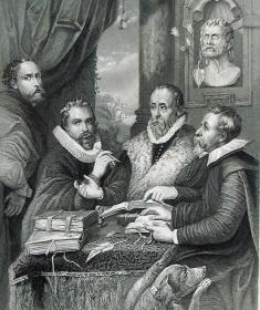 """""""鲁本斯 Rubens""""名画1880年""""意大利艺术瑰宝""""系列钢板画—《四学者》佛兰德斯画家 """"鲁本斯(Peter Paul Rubens,1577--1640) """"作品  30x23cm"""