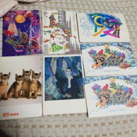 7张全新明信片及封套,6张为俄罗斯,1张猫为中国