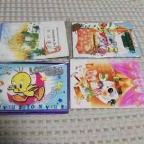 4张全新可折叠立体卡通贺卡,